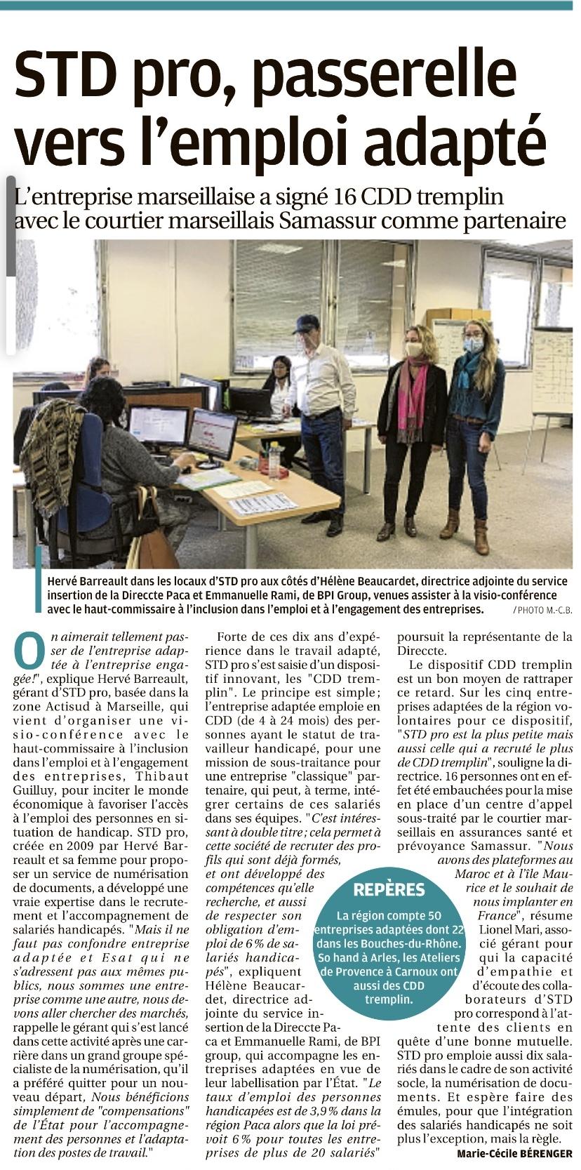 """Article La Provence de l'économie """"STD Pro, passerelle vers l'emploi adapté"""""""